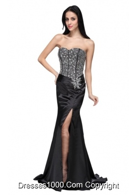 Black Sweetheart Prom Dress with High Slit and Beading Bodice