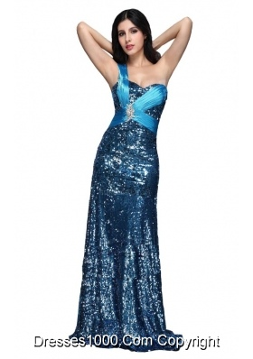 Column Blue Sequins One Shoulder Beading Ruching Long Prom Dress