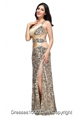 Column Champagne One Shoulder Sequins Ruching Dresses for Prom