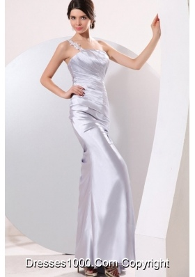 Gray Ruching Appliques One Shoulder Floor-length Dresses for Prom
