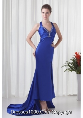 Column Halter Watteau Train Beading Prom Formal Dress in Royal Blue