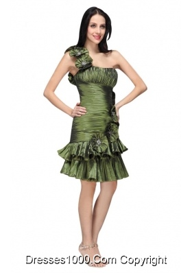 Column Olive Green One Shoulder Flower Ruching Prom Pageant Dress