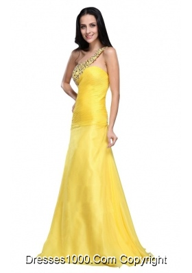 Yellow Beading One Shoulder Floor Length Prom Evening Dress