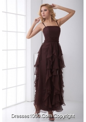 Ankle Length Brown Chiffon Prom Dress with Straps and Layers