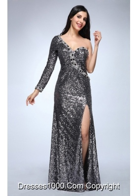 Silver One Shoulder Long Sleeve High Slit Sequins Prom Celebrity Dress