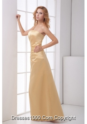 Simple Champagne Strapless Prom Dress with Ruche Waist