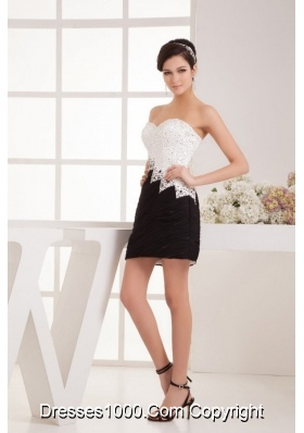 Shinning Sweetheart White and Black Short Prom Dress with Beading