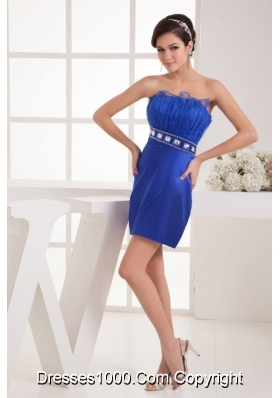 Blue Column Strapless Mini-length Prom Dress with Beading