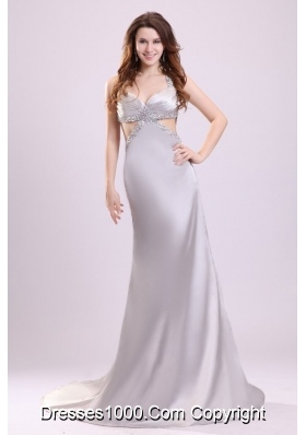 Column Straps Beading Satin Brush Train Gray Prom Dress Open Back