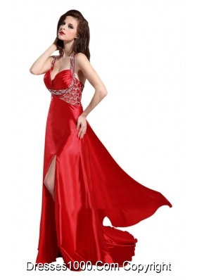 Provocative Halter Top Sweetheart Prom Dress with Slit and Beading