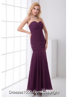 Grape Sweetheart Mermaid Ankle Length Prom Dress with Ruches
