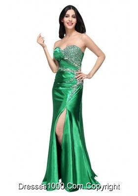 Expensive Green Sweetheart Prom Dress with Beading and Slit