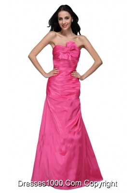 Column Sweetheart Hot Pink Ruching Full-length Dress for Prom Queen