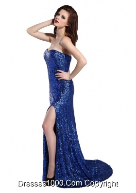Sweetheart Royal Blue Prom Dress with Sequins High Slit and Train