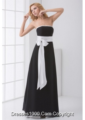 Strapless White and Black Prom Bridesmaid Dress with Bowknot