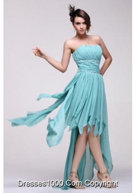 Aqua Blue Chiffon High Low Prom Dress with Layers and Ruches
