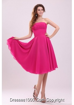 Empire Hot Pink Strapless Ruching Chiffon Prom Holiday Dress for 2014