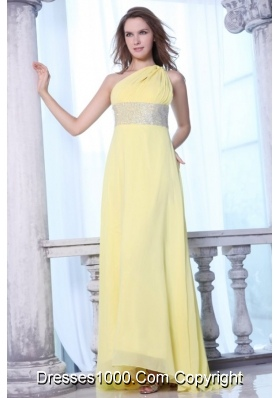 Yellow One Shoulder Prom Dress with Sequins Sash and Train