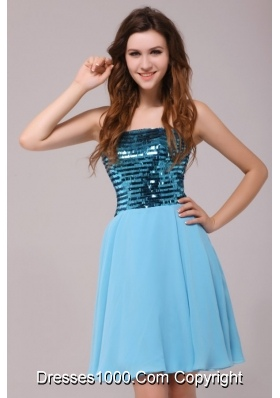 2014 Empire Sequin Strapless Knee-length Light Blue Prom Gown Dress