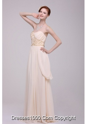 Empire Champagne Ruching Chiffon Floor-length Prom Dress for 2014