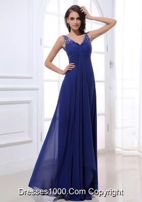 Royal Blue Empire V Neck Chiffon Prom Dress with Beading