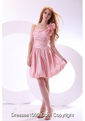 Flowers Straps Baby Pink Short Prom Celebrity Dress with Ruches