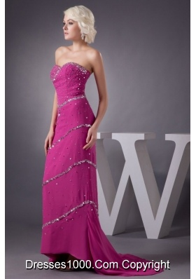 Fuchsia Strapless Beading Decorate Prom Dress with chapel Train