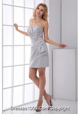 Simple Grey Strapless Short Prom Mother Dress with Ruched Bodice