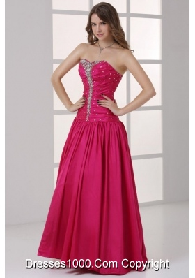 2014 Long Hot Pink Beaded Sweetheart Dress for Prom Queen