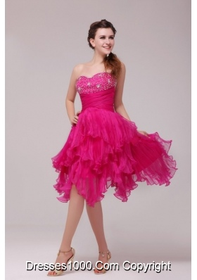 Hot Pink Sweetheart Beading and Ruffles Asymmetrical Dress for Party