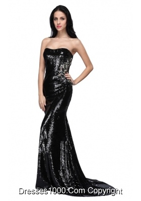 2014 Mermaid Black Strapless Sequins Brush Train Prom Pageant Dress