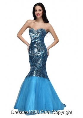 Mermaid Blue Sweetheart Sequins Long Prom Dress with Beading 2014
