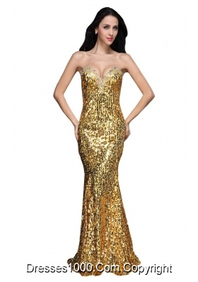 Mermaid Gold Sweetheart Sequins Beading Floor-length Prom Dresses