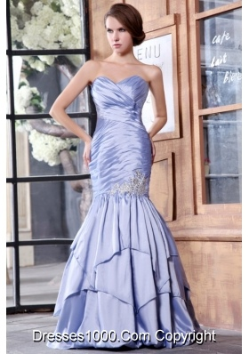 Lilac Sweetheart Mermaid Style Prom Dress with Ruches and Layers