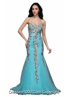 Mermaid Sweetheart Appliques Light Blue Brush Prom Formal Dress
