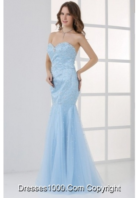 Light Blue Satin and Tulle Mermaid Prom Dress with Beading