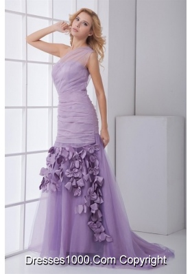 Lilac One Shoulder Prom Dress with Ruches and Hand Made Flower