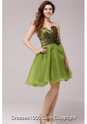Olive Green V-neck Ruching Hand Made Flower Prom Homecoming Dress
