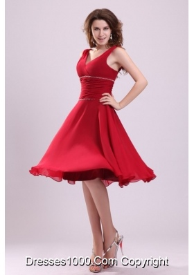 Popular A Line Chiffon V Neck Prom Dress with Straps