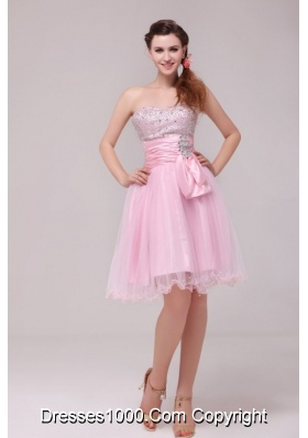 Princess Baby Pink Strapless Beading and Ruching Prom Cocktail Dress