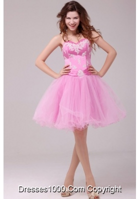 2014 Princess Rose Pink Sweetheart Appliques Short Dresses for Prom