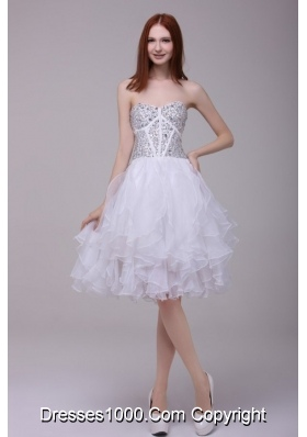 2014 Princess White Beading and Ruffles Organza Prom Celebrity Dress