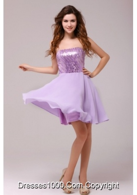 Short Lavender Strapless Empire Prom Cocktail Dress with Sequin Bust