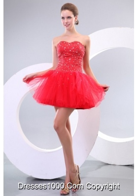 Red Sweetheart Beading Tulle Mini-length Prom Cocktail Dress