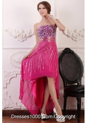 Noble Rose Pink High Low Prom Dress with Sequins and Beading