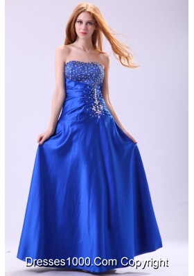 Magic Royal Blue Strapless Prom Dress with Beading and Ruches