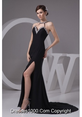 Sexy Black Halter Beading Decorate Prom Dress with Slit and Train