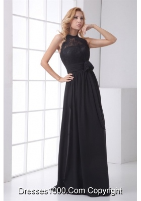 Simple Empire Halter Black Lace Chiffon Floor-length Prom Dress