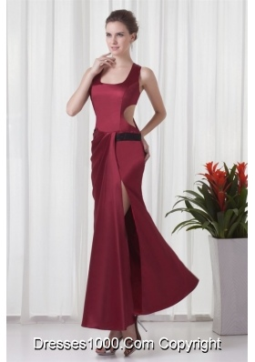 Simple Square Neck Column Red Criss-cross Back Prom Pageant Dress