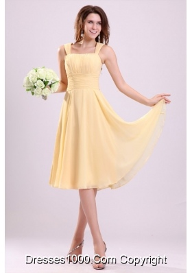 Simple Yellow A Line Tea Length Bridesmaid Dress with Straps